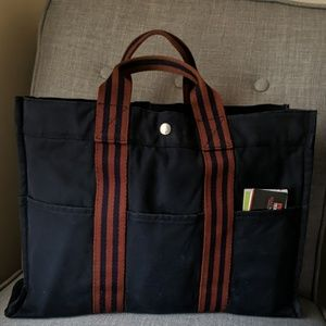 Navy/Brown Toile Canvas Hermès Fourre Tout PM
